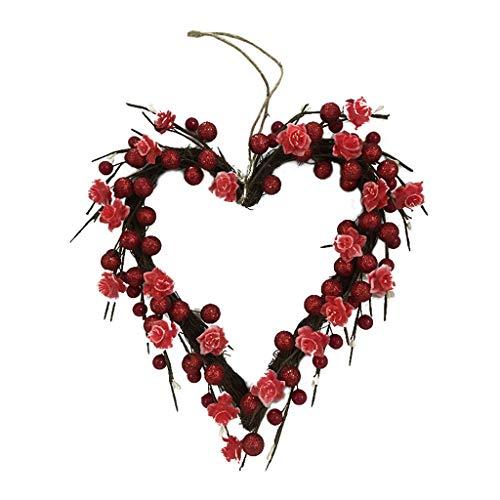 Sheuiossry Guirnalda de 20 luces LED con forma de corazón para San Valentín, funciona con pilas, para decoración de puerta delantera, ideal para decoración de Navidad, bodas, fiestas