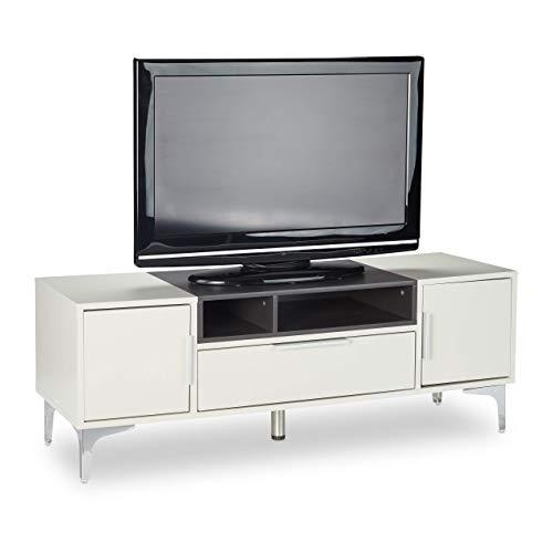 Relaxdays Mobile TV, Tavolino Basso per Televisione, Mobiletto XL con Cassetto, HxLxP: 44 x 120 x 40 cm, Grigio/Nero, MDF