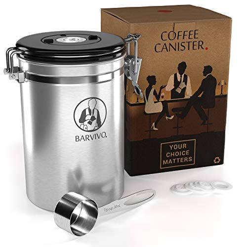 BARVIVO Stainless Steel Coffee Canister - Large - Keep Your Best Coffee Beans and Grounds Fresh for Months - Airtight Container with CO2-release Valve, an Engraved Date Tracker and Measuring Scoop.