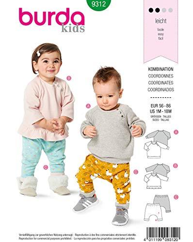 Burda Schnittmuster 9312, Shirt und Hose [Baby 56-86] zum selber nähen, ideal für Anfänger [L2]