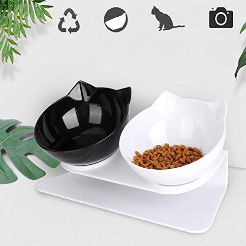 Aiboria Katzennapf, Doppelnapf mit erhöhtem Ständer, 15° neigbare Plattform, abnehmbar, auslaufsicher, für Katzen und kleine Hunde