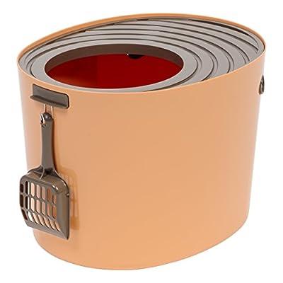IRIS Medium Top Entry Cat Litter Box, Orange/Brown