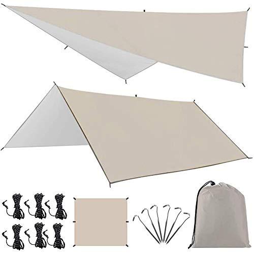キャンプ テント Linkax 防水タープ UVカット 天幕シェード タープ テント ポータブル アウトドア 収納袋付...