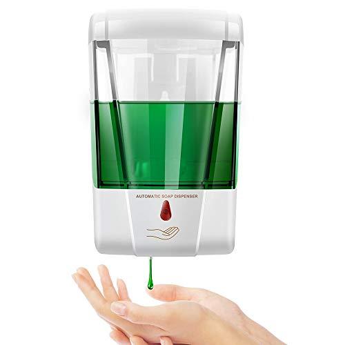 Blingbin Dispensador Jabon Pared, Dosificador Gel Hidroalcoholico de 700 Ml, Bomba de Loción de Jabón de Cocina Sin Contacto para Baño de Cocina, Dosis de 1 Ml