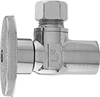 Keeney 2780PCLF 1/2-Inch Copper Sweat by 3/8-Inch O.D. Lead Free Quarter Turn Angle Valve, Chrome