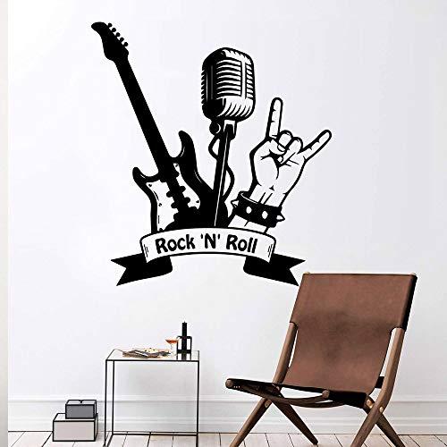 Creative Rock Music Singer Super Star Guitar note Staves DIY Vinilo Etiqueta de la pared Dormitorio Decoración del hogar Arte Calcomanía Regalo micrófono Rock N'roll 42 * 45cm