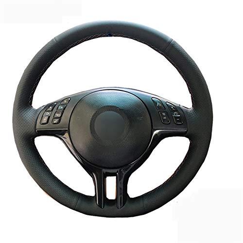 JXSMFXP gevlochten op het stuur, handgenaaid autostuurhoes. Voor BMW E39 E46 325i E53 X5.