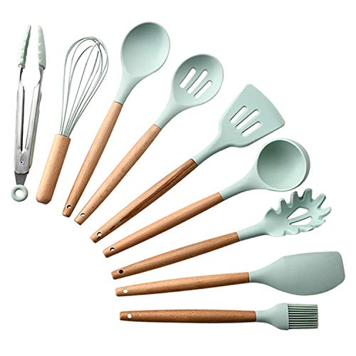 KKmoon 9pcs conjunto de utensílios de cozinha Conjunto de utensílios de cozinha de silicone Conjunto de utensílios de cozinha com alça de madeira Conjunto de utensílios de cozinha para chef antiadere