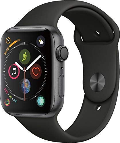 Apple Watch Series 4 (GPS, 44MM) - Space Gray Aluminum Case with Black Sport Band (Renewed)