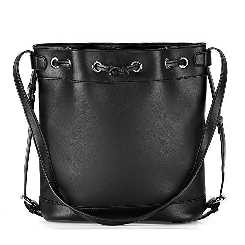 Buffalo 4102087 modische Damen Tasche aus Lederimitat mit Tunnelzug Textilfutte, Groesse OneSize, schwarz