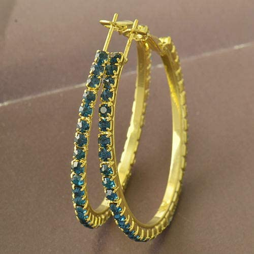 Beautiful New 9k Yellow Gold Filled Blue Crystal CZ Large Round Hoop Earrings