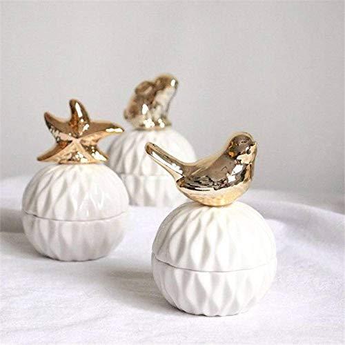 N-B Bandeja de almacenamiento para anillos de cerámica dorada chapada en oro, ideal para regalos decorativos (5 estilos)