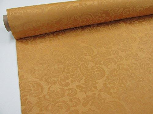 Confección Saymi Tela Raso Brocado, 2,45 MTS Ref. Damasco, Color Mostaza, con Ancho 2,80 MTS.
