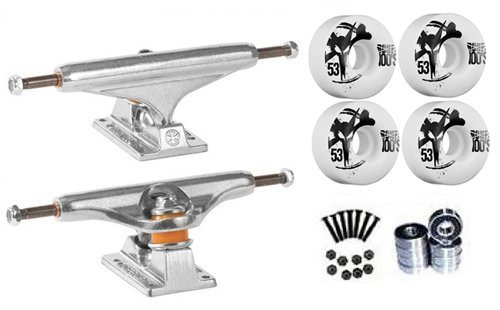 Independent Silver 149mm Truck pacchetto Skateboard Bones 100's Wheels 53MM MM Abec 7Bearings by Independent