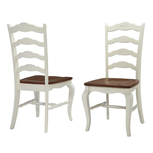 Home Styles 5518-802 The French Countryside Dining Chair Pair, Oak and Rubbed White