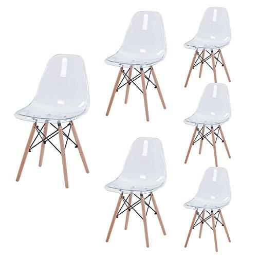 Set di 4/6 Sedie da Pranzo dal Design Nordico Sedie da Pranzo Trasparente per Sala da Pranzo...