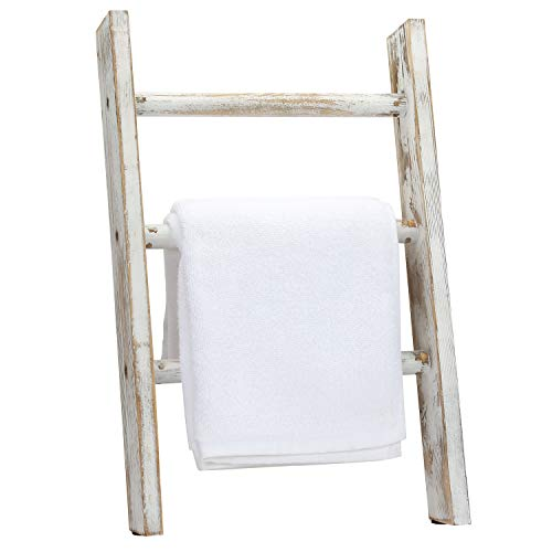 MyGift Rustic Whitewashed Wood Countertop Leaning Ladder Bathroom and Kitchen Hand Towel Holder Drying Rack