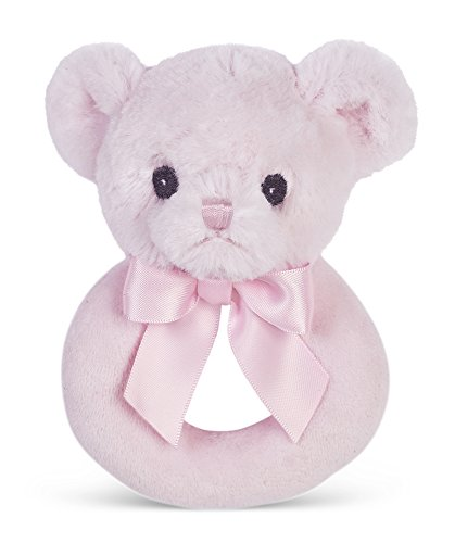 Bearington Baby Huggie Plush Stuffed Animal Pink Teddy Bear Soft Ring Rattle 55quot