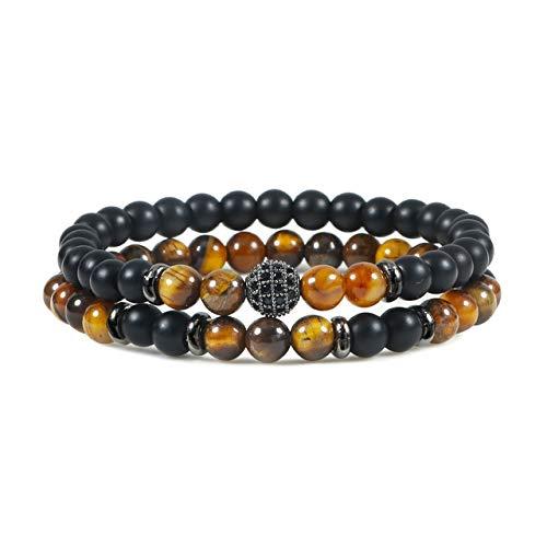 K-ONE 2 unids/Set Pulseras de Encanto para Mujeres y Hombres, brazaletes con Cuentas de Bola de Piedra de ónix Mate Natural, joyería de energía de Yoga a Distancia para Parejas, Regalos