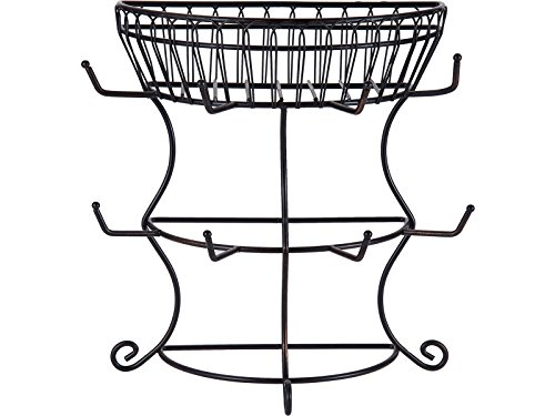 Gourmet Basics by Mikasa French Countryside Metal Mug Tree with Storage Basket Antique Black 1475Inch  5154681