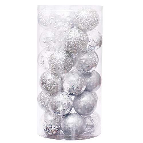 Palline per albero di Natale, infrangibili, trasparenti, decorazioni natalizie, palline di Natale, con brillantini, per vacanze, matrimoni, decorazioni natalizie, 30 pezzi, 60 mm, argento