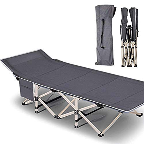 Lilypelle Folding Camping Cot, Double Layer Oxford Strong Heavy Duty Wide Sleeping Cots with Carry Bag, Portable Travel Camp Cots for Traveling Gear Supplier, Home/Office Nap and Beach Vocation