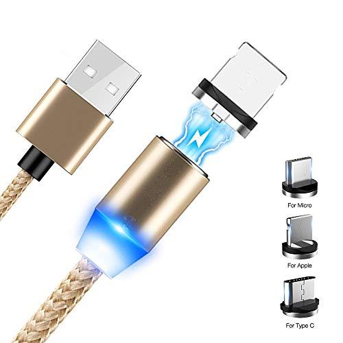 Cavo Magnetico di Ricarica, 1M Nylon Intrecciato, Caricabatterie Magnetico Universale 3 in 1, Micro USB, Tipo C e iOS, Universale (Oro)