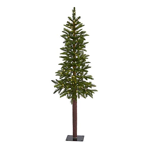 Nearly Natural 5ft. Alaskan Alpine Artificial Christmas Tree with 100 Clear Microdot (Multifunction) LED Lights, 92 Bendable Branches, Green