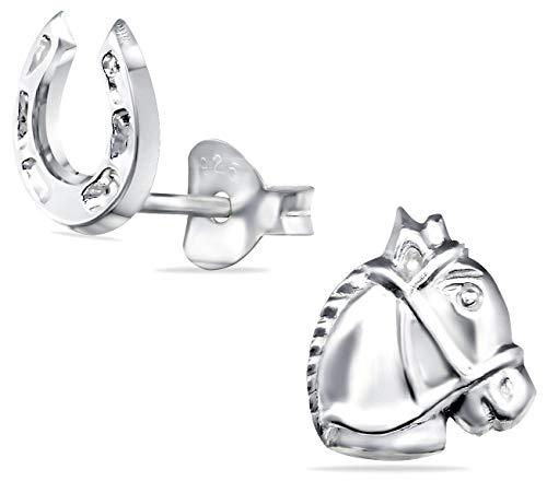 Tiwoca Jewellery - Orecchini per bambini a forma di cavallo e ferro di cavallo, in vero argento 925, senza nichel, con custodia originale e panno per la pulizia