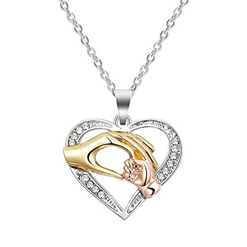 Cadeaux pour maman, CNNIK Collier coeur amour coeur bébé main dans la main en or rose argent collier pendentif chaîne de fête des mères bijoux pour femmes maman avec boîte cadeau