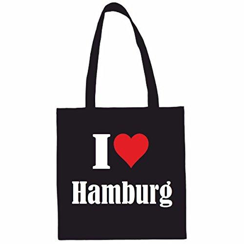 Tasche I Love Hamburg Größe 38x42 Farbe Schwarz Druck Weiss