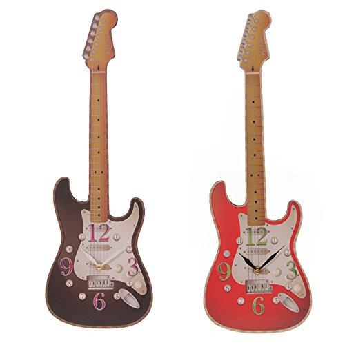 mugesh Wanduhr E-Gitarre rot - Schönes Geschenk für Musiker