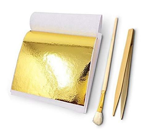 〔mikan〕 フェイク 金箔 100枚 竹ばし あしらい筆 3点セット 模造金箔 フェイク ゴールド 非磁性 ピンセット刷毛 金箔貼り