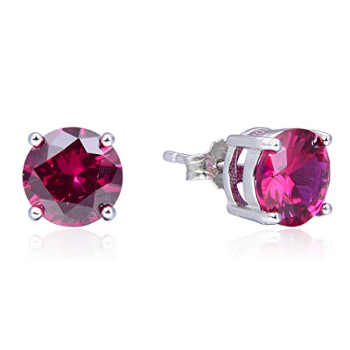 Sterling Silver July Birthstone Earrings 6mm Red Ruby Earring Stud Ear Studs Anniversary Birthday Mother's Gift SSE54