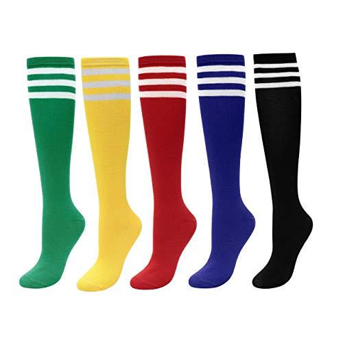 CHIC DIARY Kniestrümpfe Damen Mädchen Fußball Sport Socken College Cheerleader Kostüm Strümpfe Cosplay Streifen Strumpf, 5 Paar(grün+rot+gelb+schwarz+blau), Einheitsgröße