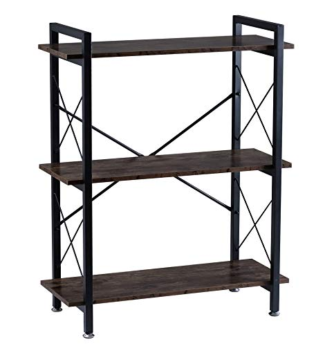 BOTONE Breites Regal, Bücherregal, Standregal mit DREI Böden in rustikaler Holz-Optik und stabilem schwarzen Metallrahmen; perfekt für Wohnzimmer, Schlafzimmer, Flur oder Bad; (80x35x100cm)