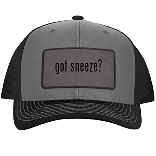 got Sneeze? - Leather Grey Patch Engraved Trucker Hat, Grey-Steel, One Size