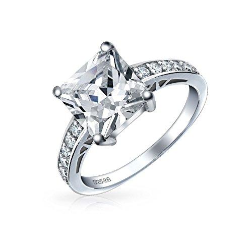 Bling Jewelry Einfache 2,5Ct Zirkonia Brillante Prinzessin Geschnitten AAA Cz Solitär Verlobungsring Dünne Pflaster Band 925 Sterling Silber