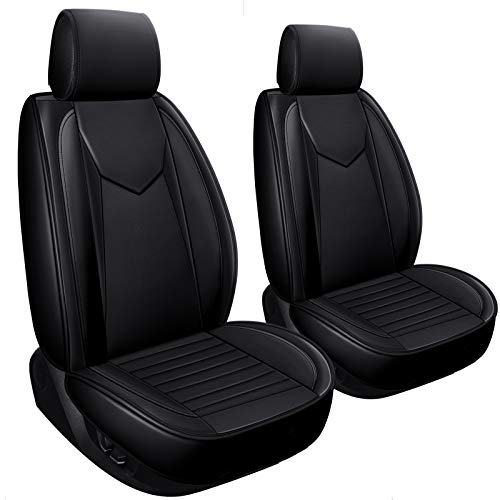 LUCKYMAN CLUB 2 Black Drivers Car Seat Covers Fit for Most SUV Sedan 4runner CX5 Santa Fe Sport with Waterproof Faux Leather (V-2 PCS Black)