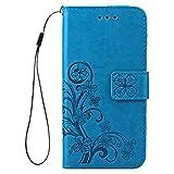 Tasche für Apple iPhone SE 2020 iPhone 8 & iPhone 7 Hülle Leder aus Textil Schutz Hülle Canacsa Four Leaves Clover (Blaue)