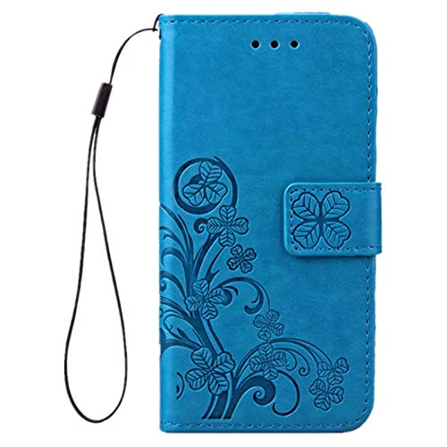 Luxus Tasche für Apple iPhone SE 2020 iPhone 8 & iPhone 7 Hülle Leder aus Textil Schutz Hülle Canacsa Four Leaves Clover (Blaue)