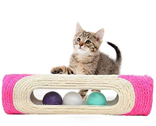 Frischkit KATZENSPIELZEUG/Kratzrolle Kratzbaum -pink- aus Sisal - stromlos, nachhaltig, möbelschonend und interaktiv für eine GESUNDE und ZUFRIEDENE Katze