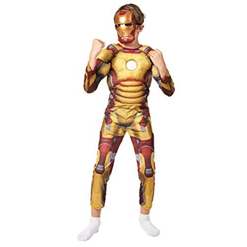 GYMAN Bambino Supereroe Iron Man Muscolare 3D Vestito Operato Vestito, Halloween Carnevale Cosplay Body, per Il Film Costume Props Pigiama Onesies Costume Unisex dei Capretti della Festa,L