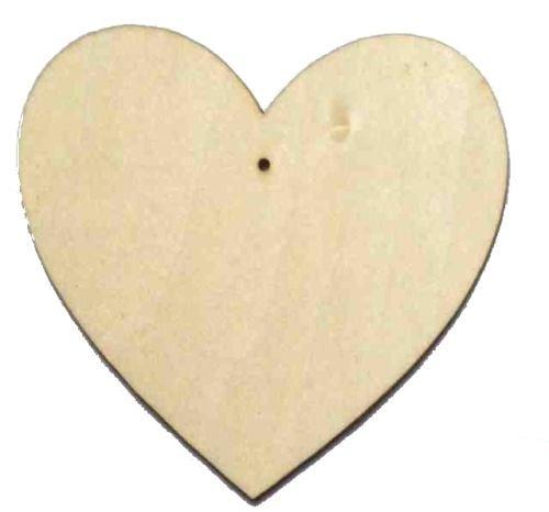 10 cuori in legno, con foro centrale, Plain Beech Wood, 150mm (15cm)