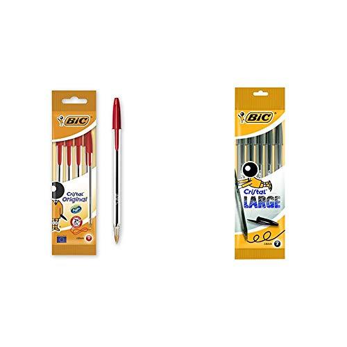 BIC Cristal Original - Bolígrafo de punta redonda, color rojo, pack de 4 unidades + Large bolígrafos Punta Ancha (1,6 mm) - Negro, Blíster de 5 unidades