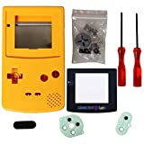 eJiasu Full Replace Parts Housing Shell Pack Replacement for GBC Gameboy Color (Yellow Case with Lens and Screwdriver)