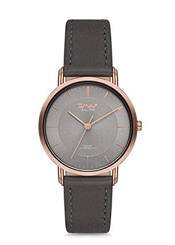 Omax Men's Wristwatch Grey Rosegold Case Grey Leather Strap Japan Movement DX44R99I