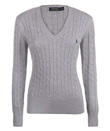 Ralph Lauren Polo Cable Knit V-Neck Cotton Pullover Kimberly Grau (S)
