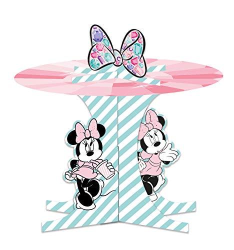 Procos 88981 - Cupcake Ständer, Disney Minnie Party Gem, Premium Set, Muffin Ständer, Tortenständer, Geburtstag, Mottoparty