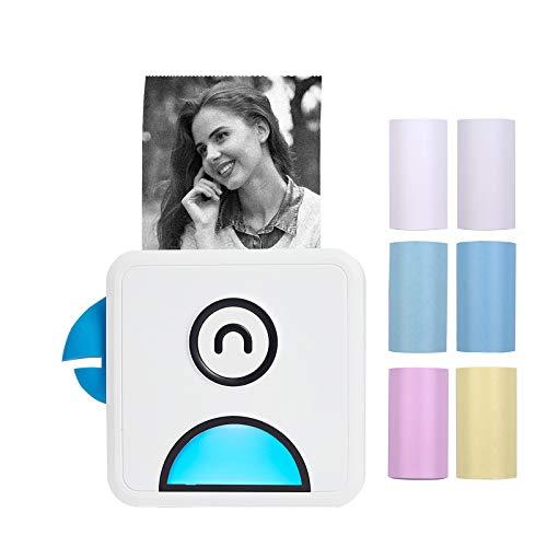 Aibecy Mini Stampante termica tascabile, foto 200 dpi BT Wireless Etichetta adesiva per ricevute Note Elenchi MemoMaker per compatibile con Android iOS, Poooli L1, con 6 rotoli Carta termica